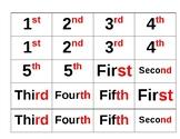 Ordinal numbers memory game