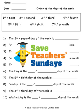 Ordinal Numbers Worksheets 3 Levels Of Difficulty By Save Teachers Sundays