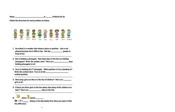 Ordinals, Operations, Number Sense with Problem Set & Homework