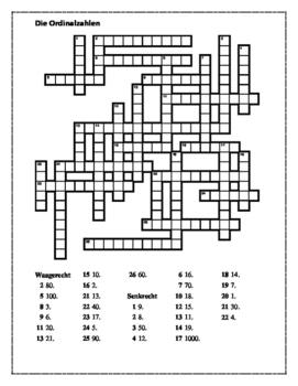 Ordinalzahlen (Ordinal numbers in German) Crossword