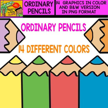 Ordinary Pencil - Cliparts in 14 Different Colors