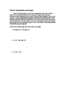 Ordinary People:Ch. 17-19 Writing:Worksheet leading to analysis of relationships