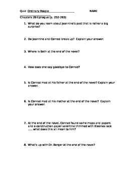 Ordinary People: Quiz  Ch. 28-end