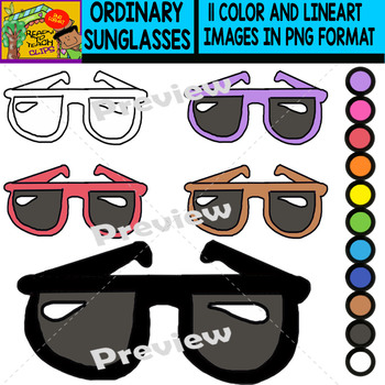 Ordinary Sunglasses - Colorful Cliparts Set - 11 Items