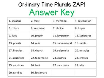 Ordinary Time Plural Nouns ZAP!