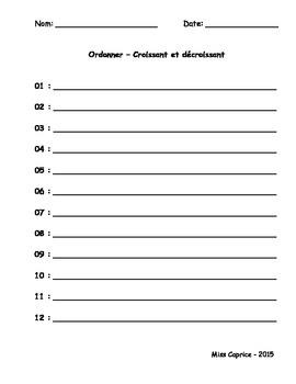 Ordonner - Cartes à tâches - 3e année