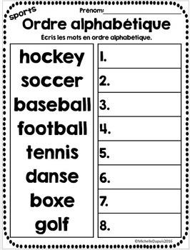 Ordre alphabétique - 15 thèmes