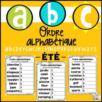 Ordre alphabétique - ÉTÉ          French alphabetical order