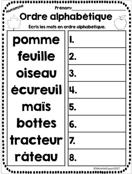 Ordre alphabétique - Thème: AUTOMNE - French alphabetical order
