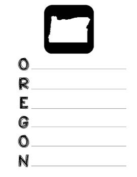 Oregon State Acrostic Poem Template, Project, Activity, Worksheet