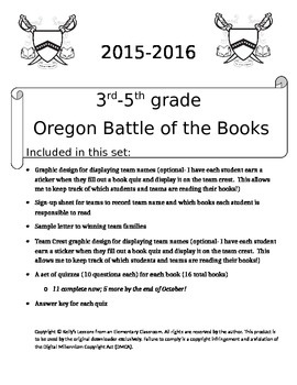 Oregon Battle of the Books 2015-2016 for 3rd-5th Grade UPDATED