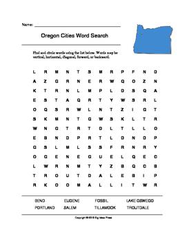 Oregon Cities Word Search (Grades 3-5)