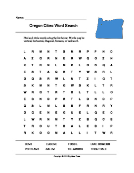 Oregon Cities Word Search (Grades 3-5)
