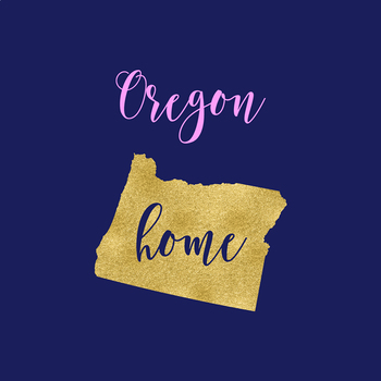 Oregon Clipart, USA State Vector Clipart, Oregon Home, Gold US Clipart