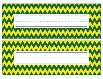 Oregon Ducks Inspired Green and Yellow Editable Name Plates/Word Wall