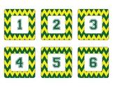 Oregon Ducks Inspired Yellow and Green Chevron Calendar Pieces-Editable
