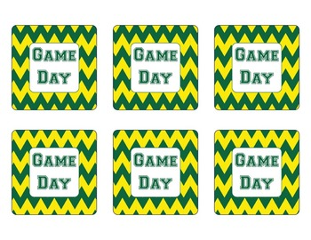 Oregon Ducks Inspired Yellow and Green Chevron Calendar Pieces-Editable