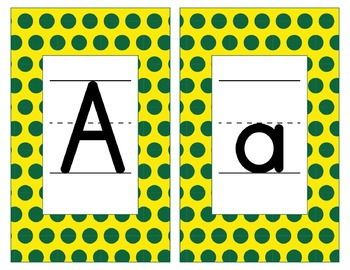 Oregon Inspired Yellow & Green Alphabet & Number Cards for Word Walls-Editable