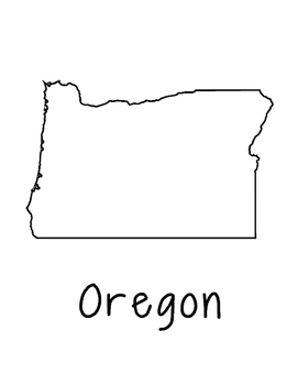 Oregon Map Coloring Page Craft - Lots of Room for Note-Taking & Creativity