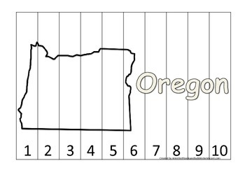 Oregon Number Sequence Puzzle.  Learn the States preschool printable game.