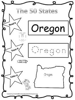 Oregon Read it, Trace it, Color it Learn the States preschool worksheeet.