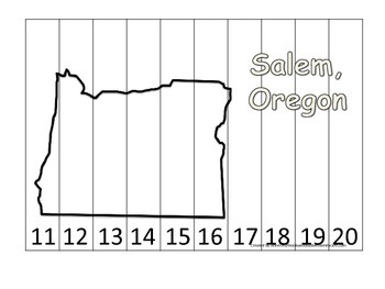 Oregon State Capitol Number Sequence Puzzle 11-20.  Geography and Numbers.