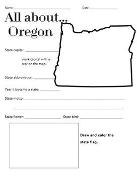Oregon State Facts Worksheet: Elementary Version