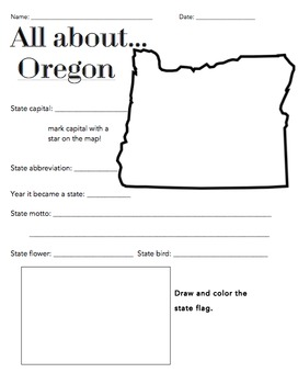 Oregon State Facts Worksheet: Elementary Version
