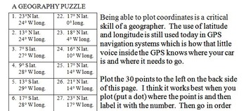 Oregon State Latitude and Longitude Coordinates Puzzle - 30 Points to Plot