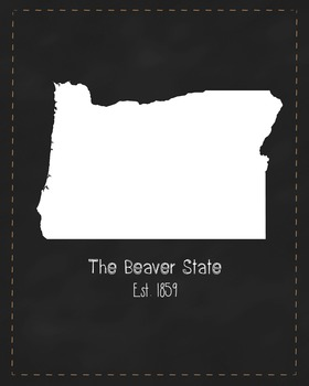 Oregon State Map Class Decor, Government, Geography, Black and White Design