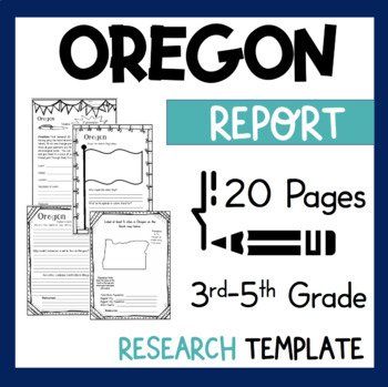 Oregon State Research Report Project Template + bonus timeline craftivity OR