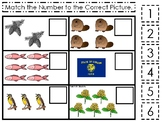Oregon State Symbols themed Match the Number Preschool Math and Counting Game.