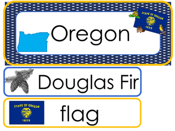 Oregon State Word Wall Bulletin Board Set. Geography Curriculum.