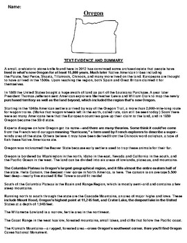 Oregon Text Evidence and Summary Assignment
