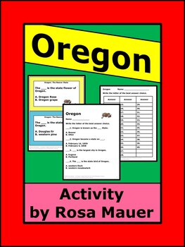 Oregon: The Beaver State Social Studies Task Cards and Worksheet