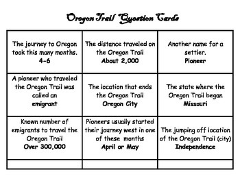 Oregon Trail Bingo