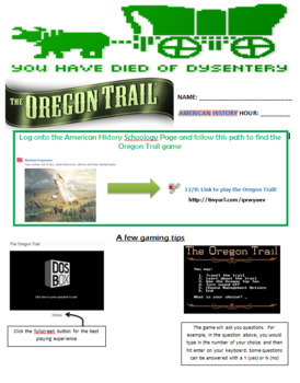 Oregon Trail Game Questions