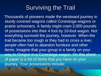 Oregon Trail Game using Power Point