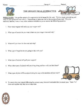 Oregon Trail Interactive Worksheet
