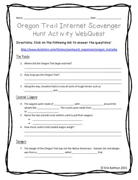 Oregon Trail Internet Scavenger Hunt WebQuest Activity