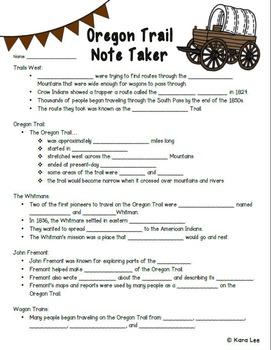 Oregon Trail PowerPoint & Note Taker