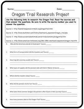 Oregon Trail Webquest and Project