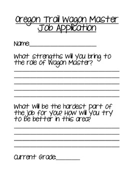 oregon trail wagon master job application packet by elementary