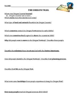 Oregon Trail - Worksheet