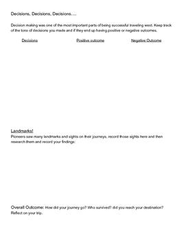 Oregon Trail Worksheet