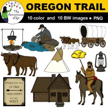 Oregon Trail and Gold Rush Clip Art