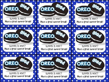 Oreo End of Year Gift Tag- Oreo glad summer is here?
