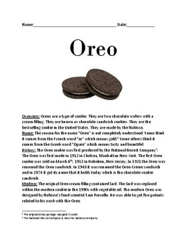 Oreo - History and Facts Lesson on the Oreo Cookie Sandwich - questions