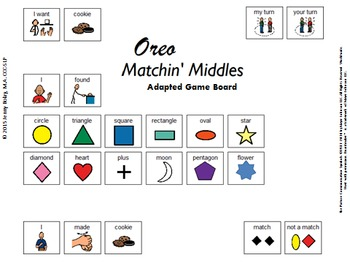 """""""Oreo Matchin' Middles"""" Adapted Game Board for Functional Communication"""