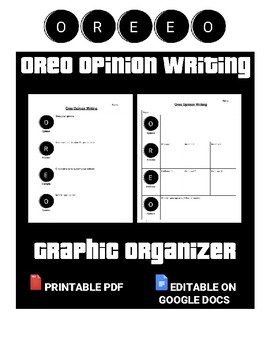 Oreo Opinion Writing Graphic Organizer (Editable in Google Docs)